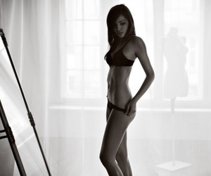 anorexic, black and white, and girl image