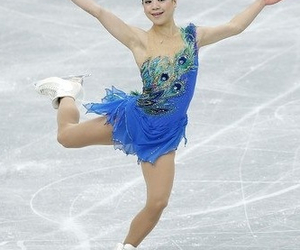 blue, dress, and figure skating image