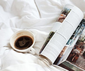 coffee, bed, and magazine image