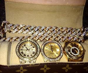 diamonds, luxury, and watch image