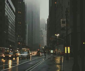 city, rain, and car image