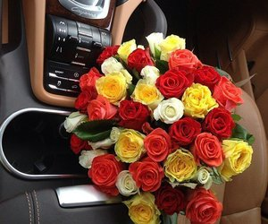flowers, car, and roses image