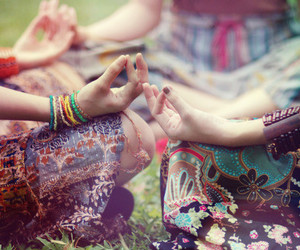 hippie, peace, and meditation image