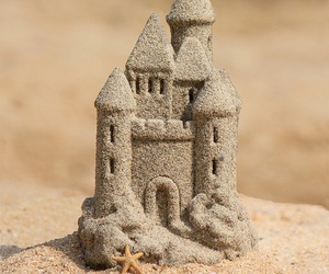 beach, castle, and summer image