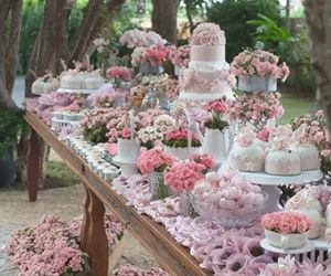 wedding, cake, and pink image