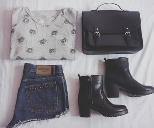 black boots, clothes, and denim shorts image