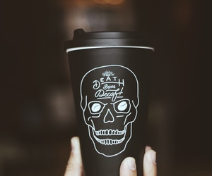 black, skull, and coffee image