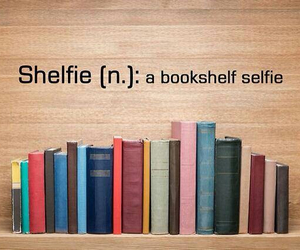 books, shelf, and selfie image