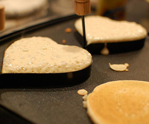 heart, pancakes, and food image