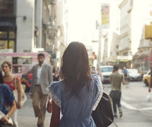 girl, brunette, and city image