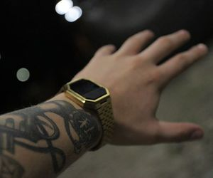 arm, gold, and Tattoos image