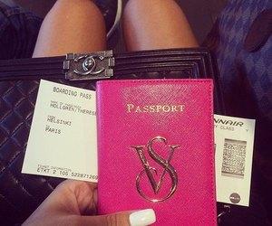 pink, travel, and passport image