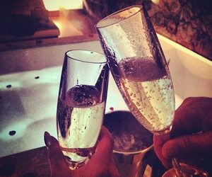 champagne, couple, and drink image