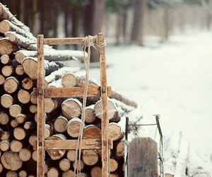 winter, snow, and wood image