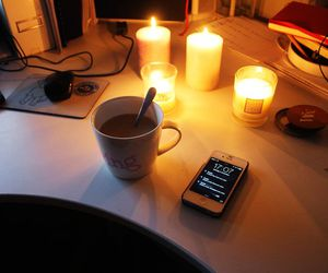 candels, fall, and coffee image