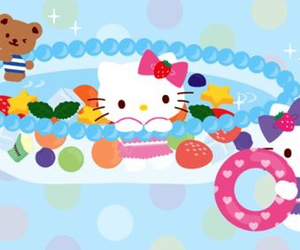 hello kitty, pool, and swimming image