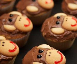 cupcake, monkey, and cute image