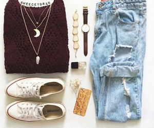 outfit, watch, and white image