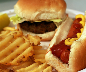 food, hot dog, and chips image