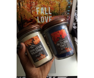 candles, fall, and leaves image