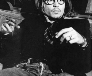 johnny depp, black and white, and man image