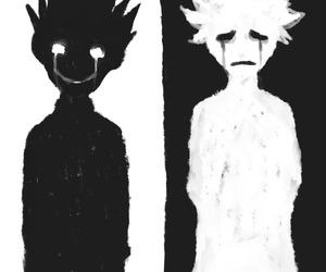 black and white, boy, and sad image