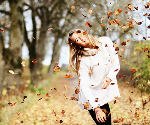 girl, fall, and leaves image