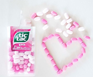 tic tac, heart, and pink image