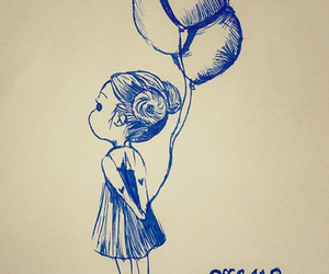 girl, balloon, and drawing image