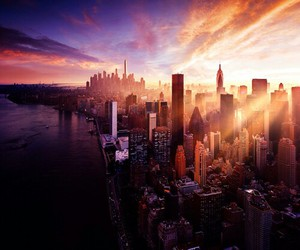 city, sunset, and nyc image