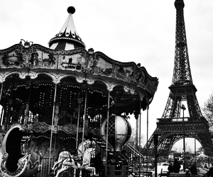 black and white, eiffel tower, and winter image