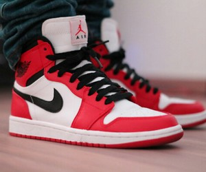 red, black, and nike image