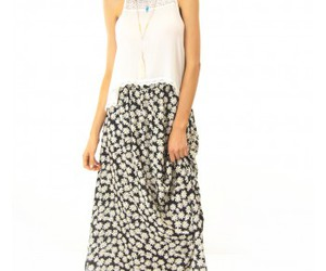 black and white, maxi skirt, and mombasa rose image