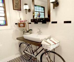 bathroom, bike, and bicycle image