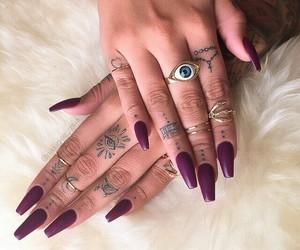 nails, purple, and tattoo image