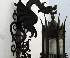 dragon, black, and lamp image