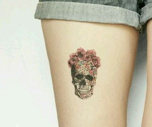 floral, flowers, and skull image