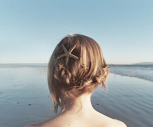 hair, girl, and sea image