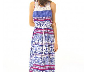 blue, maxi dress, and pink image