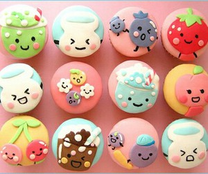 colour, cupcakes, and sweet image