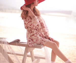 beach, book, and dress image