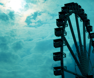 sky, blue, and ferris wheel image