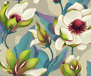flowers, magnolia, and pattern image