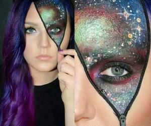 Halloween, galaxy, and makeup image