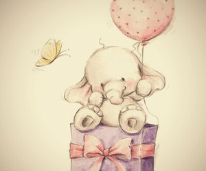 elephant, cute, and butterfly image