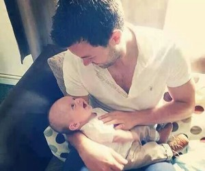 baby, adorable, and dad image