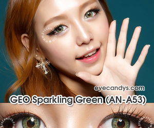 green, colored contacts, and circle lenses image