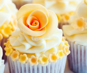 cupcake, flowers, and yellow image