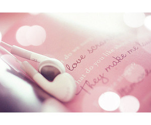 pink, love, and earphone image