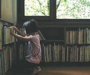 books, library, and little girl image
